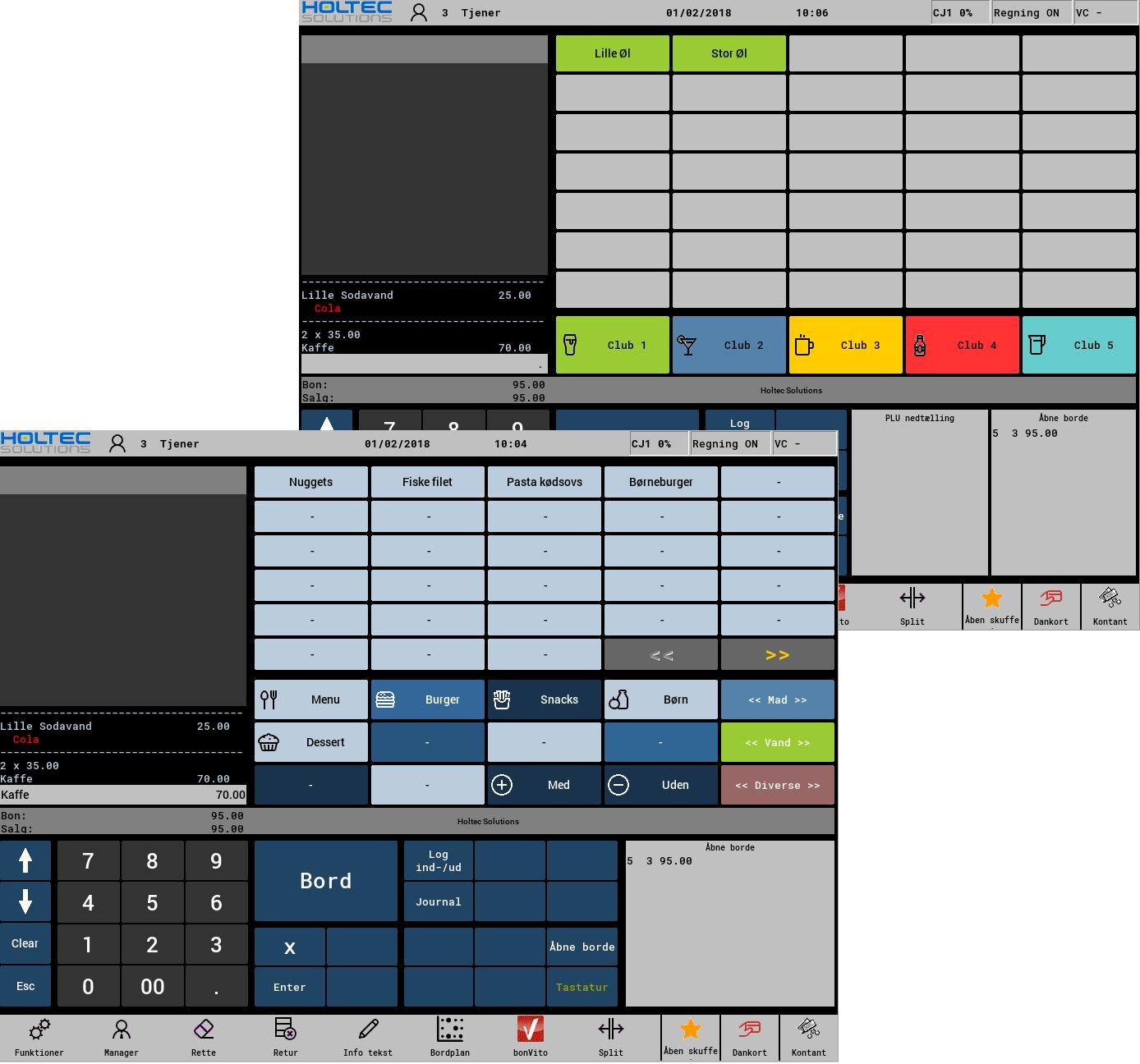 Forskellige layouts på et Vectron POS system / Kasseterminal
